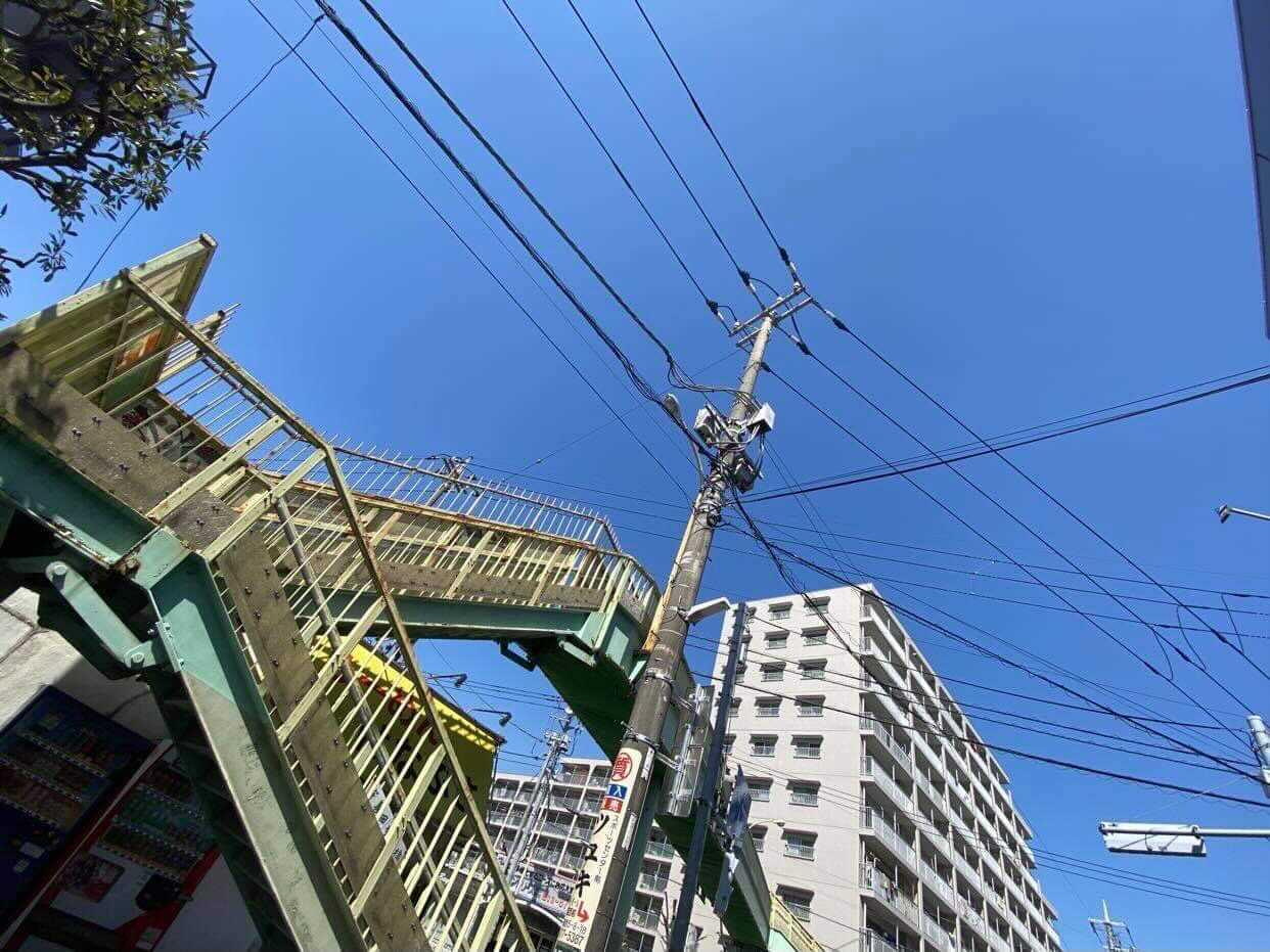 宇喜田歩道橋 歩道橋撤去工事 クレーン 現場
